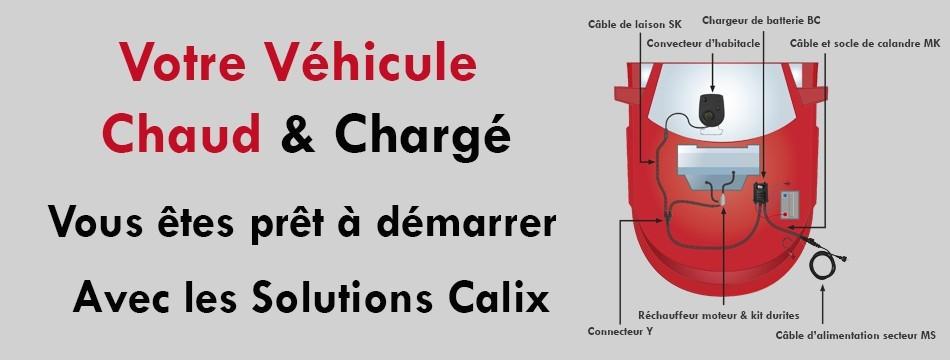 Le système Calix est un concept d'équipement embarqué de charge batterie, réchauffage moteur et habitacle par alimentation secteur 230V ( pour l'Europe ) ou 115V ( pour l'Amérique du nord )